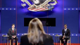 Testlauf für die zweite TV-Debatte in den USA mit zwei Probekandidaten
