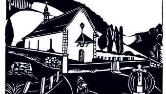 Die Johanneskapelle Beinwil als Scherenschnitt von Ursula Vögtlin.