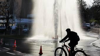 Wasserrohrbruch an der Reinacherstrasse.