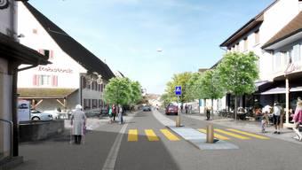 So soll die Hauptstrasse künftig aussehen: Die Fussgängerstreifen bekommen eine Mittelinsel, zwischen den Fahrbahnen gibt es einen Mehrzweckstreifen. Visualisierung zvg