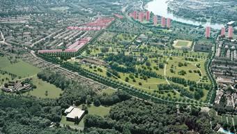 Basel entwickeln und gleichzeitig die Qualitäten schützen: Das will die Regierung des Kantons Basel-Stadt mit der Zonenplanrevision. Das Bild zeigt die Stadtrandentwicklung Ost mit Grünzonen und Hochhäusern.