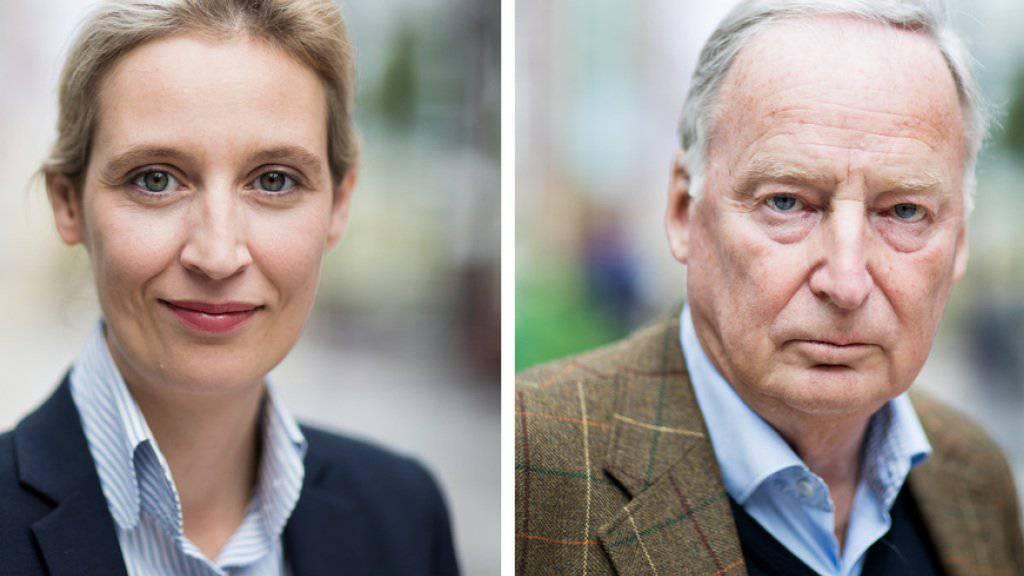 Mit ihnen als Spitzenduo zieht die AfD in den Wahlkampf für die Bundestagswahlen: Alice Weidel (l.) und Alexander Gauland.