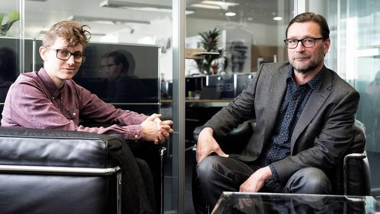 Praktikantin/Regisseurin Antje Schupp im Gespräch mit bz-Chefredaktor David Sieber im Gespräch.