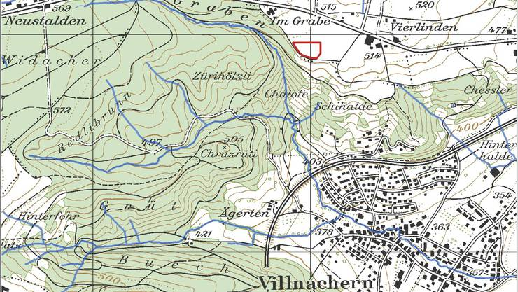 Die Nagra führt auf der Suche nach besten Standort für ein Atommüll-Tiefenlager Sondierbohrungen durch: Rot markiert ist die Lage des Bohrplatzes Bözberg 1 beim Ursprung, wo im Gebiet Jura Ost zuerst gebohrt wird.