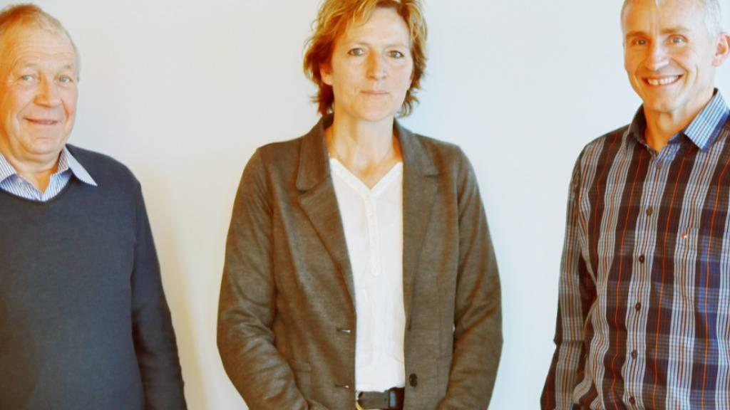 Sie bilden den Vorstand des Vereins Napfbergland (v.l.n.r.): Fritz Kohler (Gemeindepräsident Sumiswald), Renate Ambühl (Gemeinderätin Hergiswil bei Willisau), Alois Huber (Gemeindepräsident Luthern).