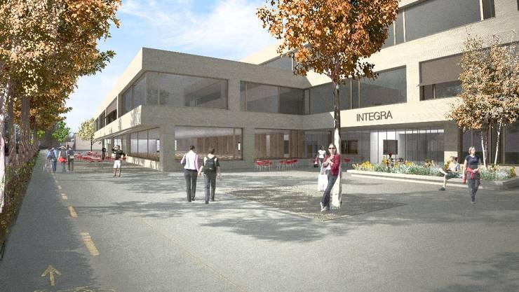 Das Integra-Neubauprojekt nimmt neben der Kantonsschule einen prominenten Platz ein.  ZVG