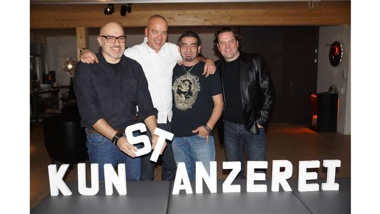 Sebastiano Bucca, Matt Affolter-Fischer, Claudio Cassana und Daniel Strom präsentieren ihr künstlerisches Schaffen in der Stanzerei in Baden.