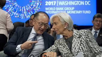 Weltbank-Präsident Jim Yong Kim im Gespräch mit IWF-Direktorin Christine Lagarde anlässlich der Frühjahrestagung der beiden Institutionen.
