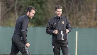 Arbeiten auch in der nächsten Saison zusammen: Matías Delgado (links) und Raphael Wicky.