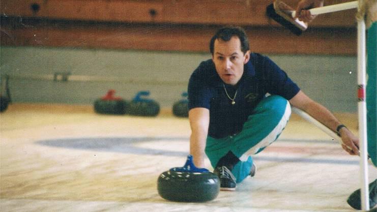Philipp Locher als Curler im Jahr 1985.