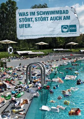 Die IG saubere Umwelt (IGSU) macht mit ihren Plakaten auf das Problem Littering aufmerksam.