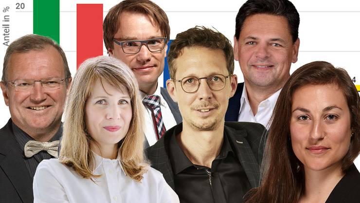 Bekannte Politologen (von links nach rechts) Claude Longchamp, Sarah Bütikofer, Lukas Golder, Michael Hermann, Adrian Vatter und Cloé Jans.