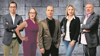 Wollen ihr Geld in Jungunternehmer investieren (von links): Tobias Reichmuth, Softwarespezialistin Bettina Hein, Onlinehändler Roland Brack, Vermieterin Anja Graf und Verleger Jürg Marquard.