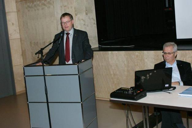 Stadtrat und Verkehrsminuister Hans Gloor (links) und der Rheinfelder FDP-Präsident Christoph von Büren