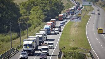 Der russische Hilfskonvoi unterwegs am Donnerstag
