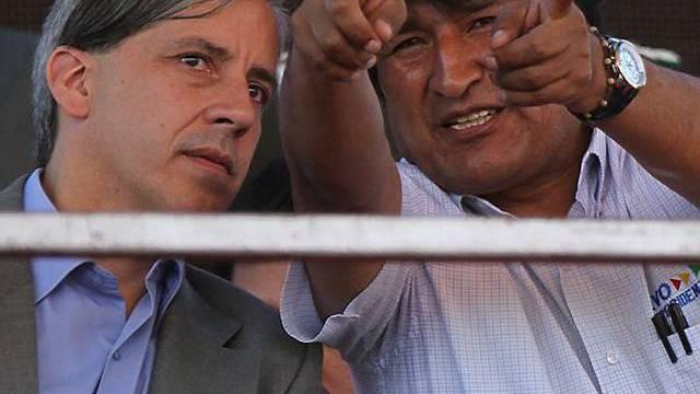 Morales mit Vize-Präsident Alvaro Garcia Linera (links)