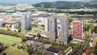 Statt zwei breiten sollen vier schmalere Hochhäuser entstehen, die mit einem Sockelgeschoss miteinander verbunden sind. (Visualisierung)