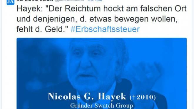 Missbräuchlich verwendet: Tweet mit Nicolas G. Hayek.