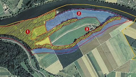 Festgesetzt sind Auenwald und Seitenarme (1), als Zwischenergebnis festgehalten ist das Offenland (2). Mittendrin befindet sich der Paradieslihof von Raphael Waltenspül (3). zvg