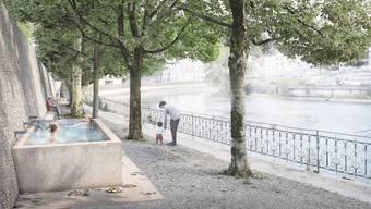Bassin, Fussbad, Thermalbank und Ellenbogenbad: Der geplante Heisse Brunnen in Ennetbaden.
