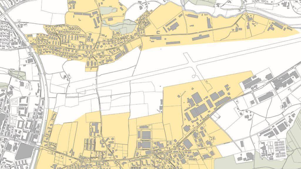 Die gelb markierten Gebiete in Emmen LU sollen dereinst Fernwärme beziehen.
