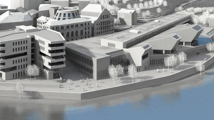 Eine nicht mehr ganz aktuelle Visualisierung des gesamten Projektes mit dem Wohn-Ärztehaus (vorn links), dem Thermalbad und dahinter dem Verenahof-Geviert (hier noch mit «Kuppel») aus Ennetbadener Sicht.  zvg