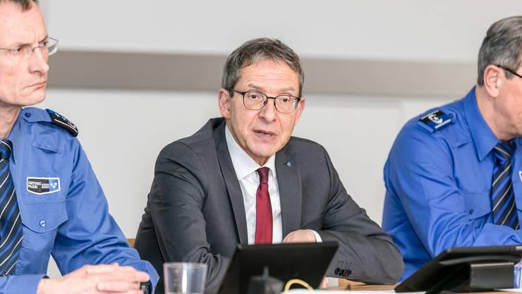 Regierungsrat und Polizeidirektor Urs Hofmann an der Medienkonferenz zum Jahresrückblick 2019 der Kantonspolizei Aargau.