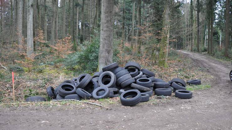 Über 100 Altreifen wurden in einem Waldgebiet am Lättweg bei Tscheppach abgeladen.