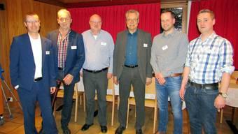 Das OK gat18 gibt sich zuversichtlich (v.l.): Andreas Burri, Robert Meier, OK-Präsident Oswald Berger, Vereinspräsident Toni Rüegg, Daniel Fink und Mario Brunner.