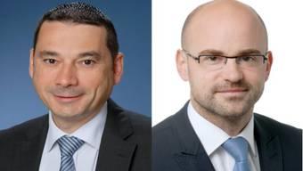 Staphan Campi (links) übernimmt das Amt des Generalsekretärs des Departements Gesundheit und Sozials, Olivier Dinichert wird neuer Leiter Abteilung Hochschulen im Departement Bildung, Kultur und Sport.