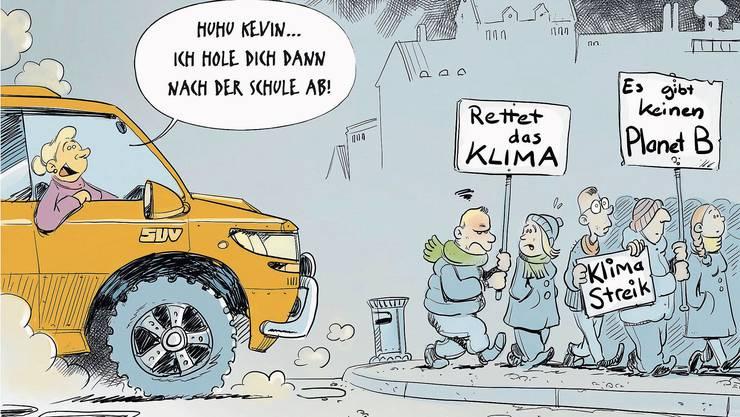 Cartoonisten zeigen Widersprüche auf: Weltweit streiken die Schüler fürs Klima.