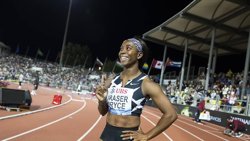 Shelly-Ann Fraser-Pryce am Donnerstag nach ihrem Sieg in Lausanne