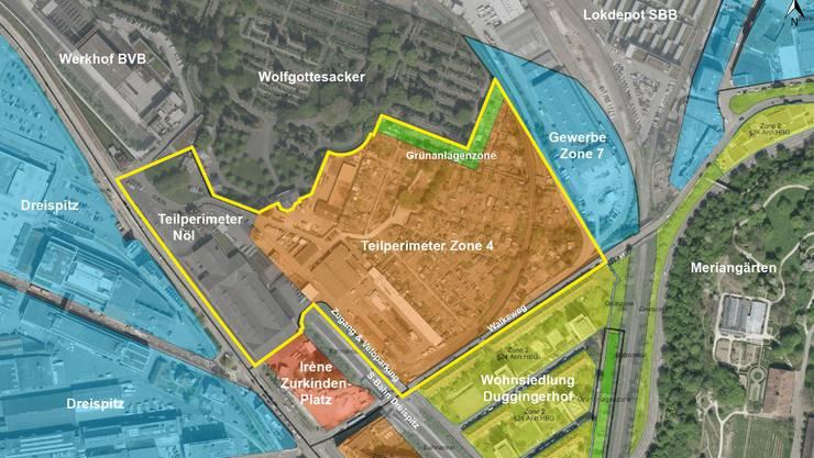 Zwischen Friedhof und Tramspur soll ab 2021 ein neues Quartier mit 400 Wohnungen entstehen.
