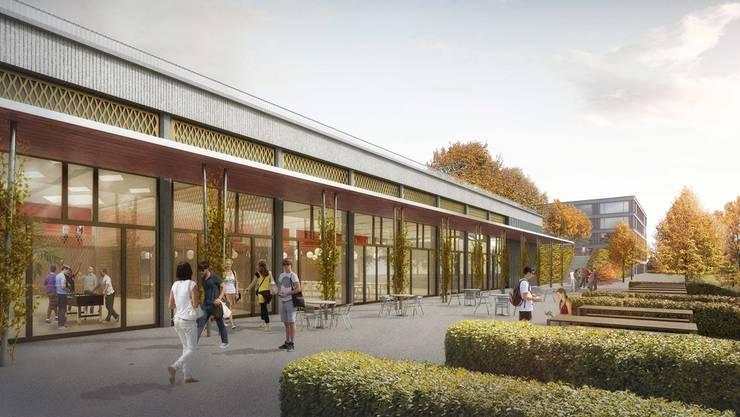 So soll das Aula- und Mensagebäude des Sekundarstufenzentrums Burghalde in Baden aussehen. Visualisierung ZVG