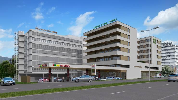 Anstelle der bekannten Autowaschanlage «Car Wash» wird beim Kreisel zum Shoppi künftig ein Hotel stehen.