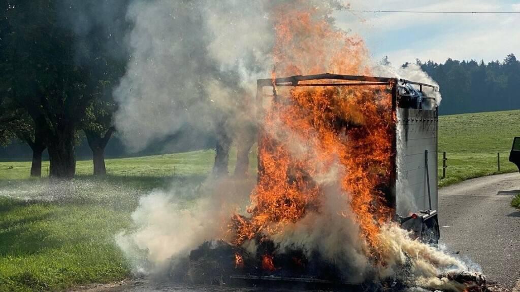 Andere Automobilisten hatten den Lenker auf den Rauch aus dem Anhänger aufmerksam gemacht.