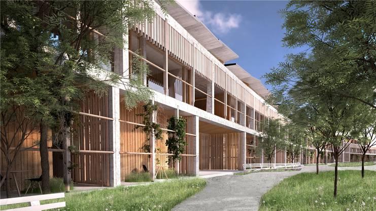 Das einladende, in Holz und Beton gehaltene neue Kinderspital.