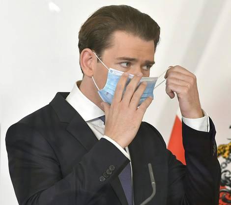 Bundeskanzler Sebastian Kurz am Samstag vor den Medien.