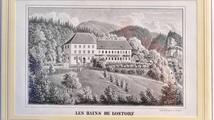 Eine Postkarte vom alten Gebäude des Bad Lostorf.
