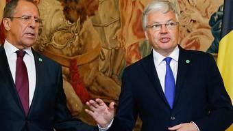Diplomatischer Aufreger wegen gesperrter Konten: Russlands Aussenminister Sergei Lawrow (links) und sein belgischer Amtskollege Didier Reynders