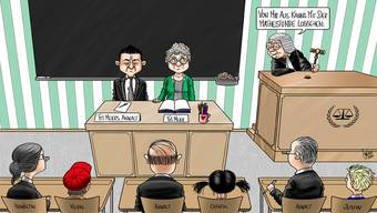 Unterricht im Gerichtssaal: Zeichnung von «Schweiz am Wochenende»-Karikaturist Silvan Wegmann.
