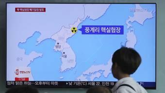 Im südkoreanischen TV wird eine Grafik gezeigt mit dem Standort des Atomtestgeländes in Nordkorea.