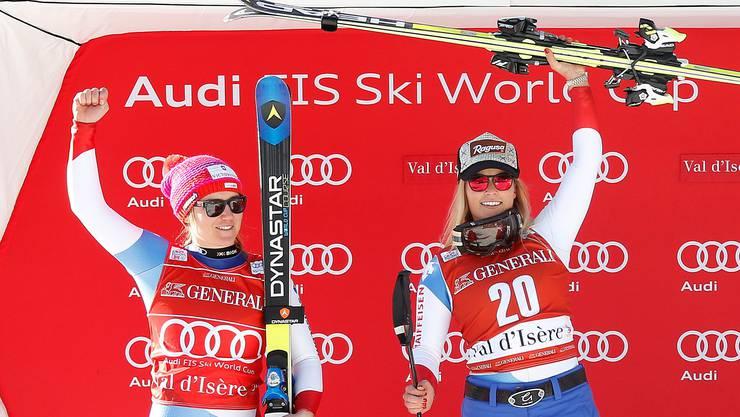 Fabienne Suter und Lara Gut haben beide Grund zur Freude.