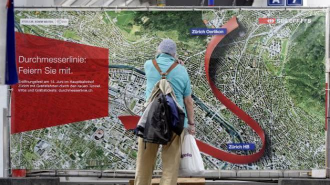 Die Feier ist vorbei, die Probleme beginnen: Durchmesserlinie Zürich.  Foto: Walter Bieri - Keystone