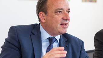 Finanzdirektor Markus Dieth, anlässlich einem Doppelinterview mit Landammann Stephan Attiger (nicht im Bild) , am 15. Mai 2017 im Regierungsgebäude Aarau.