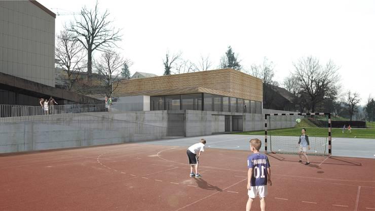 Visualisierung: So würde die geplante neue Turnhalle aussehen.