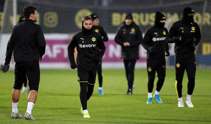 Dortmunds Mario Götze beim Aufwärm-Training