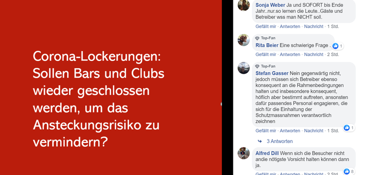 Debatte auf der Facebook-Seite der bz Basel.