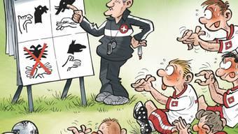 """Die Zeichnung """"L'affaire du mime de l'aigle bicéphale au Mondial"""" von Alex (Alex Ballaman) hat den """"Nebelspalter""""-Publiumspreis für die Karikatur des Jahres 2018 gewonnen."""