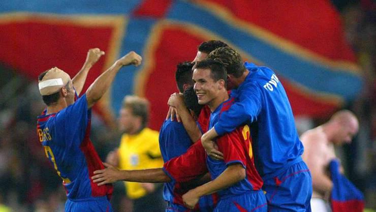 Die jungen Basler-Spieler feiern den erstmaligen Champions-League-Einzug in der Klubgeschichte.